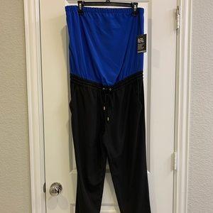 Express NWT 💙 Blue & Black Strapless Jumpsuit